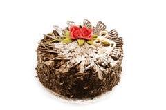 Gâteau de chocolat avec des roses Images libres de droits