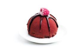 Gâteau de chocolat avec l'écrimage de framboise Photographie stock libre de droits