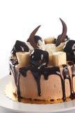 Gâteau de chocolat avec la banane Photographie stock libre de droits