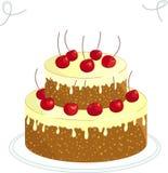 Gâteau de chocolat avec la cerise illustration stock