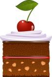 Gâteau de chocolat avec la crème fouettée et une cerise Photos libres de droits