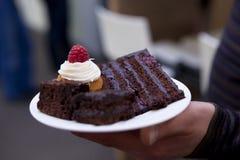 Gâteau de chocolat avec la framboise Images stock