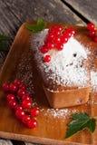 Gâteau de chocolat avec la groseille rouge, verticale Image stock