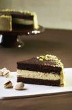 Gâteau de chocolat avec la pistache Images libres de droits