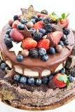 Gâteau de chocolat avec le glaçage, décoré du fruit frais photo libre de droits
