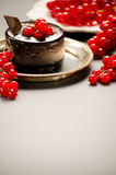 Gâteau de chocolat avec les baies rouges sur un plat Image stock