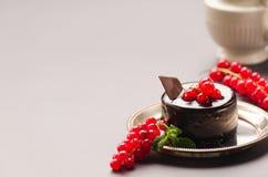 Gâteau de chocolat avec une groseille rouge sur un fond gris Images libres de droits