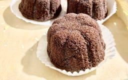gâteau de chocolat bourré de la lave de chocolat photographie stock libre de droits