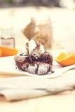 Gâteau de chocolat chaud de dessert Image stock
