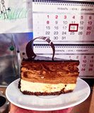gâteau de chocolat crème Trois-posé en vacances Photos libres de droits