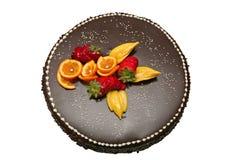 Gâteau de chocolat décoré du fruit Photos libres de droits