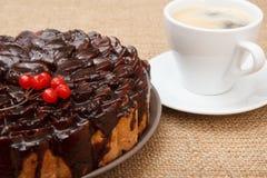 Gâteau de chocolat décoré du groupe de viburnum et de tasse de coffe Photo libre de droits