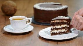Gâteau de chocolat délicieux arrosé avec la noix de coco sur supérieur et décoré de la crème de chocolat banque de vidéos