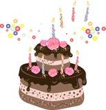 Gâteau de chocolat d'anniversaire - Photo stock