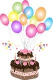 Gâteau de chocolat d'anniversaire avec le ballon Images libres de droits