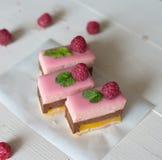 Gâteau de chocolat et de framboise Images libres de droits