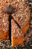 Gâteau de chocolat et de noix image stock