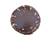 Gâteau de chocolat fait maison avec des bougies Images libres de droits