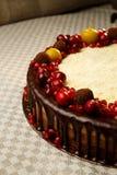 Gâteau de chocolat triple décoré de la grenade, des canneberges et des petites pommes Image libre de droits