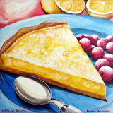 Gâteau de citron avec les groseilles rouges Photographie stock