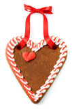 Gâteau de coeur de pain d'épice d'Oktoberfest avec l'espace de copie Photo libre de droits