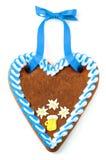Gâteau de coeur de pain d'épice d'Oktoberfest avec l'espace de copie Image libre de droits