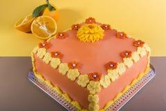 Gâteau de couche orange Photos libres de droits