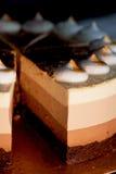 Gâteau de couche quatre avec des nuances de brun Ici crème au chocolat images stock