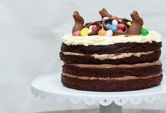 Gâteau de couche triple de Nutella Pâques de chocolat Photo libre de droits