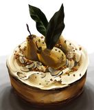 Gâteau de crème d'Amaretto avec les poires et les feuilles pochées de laurier Image libre de droits
