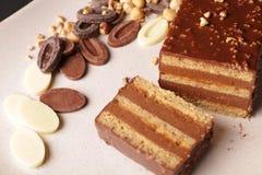 Gâteau de crêpe de chocolat et de noisette Photos libres de droits