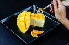 Gâteau de crêpe de mangue Photo libre de droits