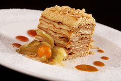 Gâteau de dessert de napoléon Photographie stock
