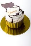 Gâteau de dessert de Tiramisu de pâtisserie dans une cuvette de chocolat   Photographie stock libre de droits