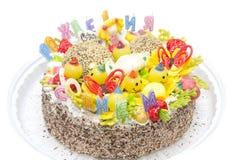 Gâteau de fête sur le fond d'isolement par blanc Images stock
