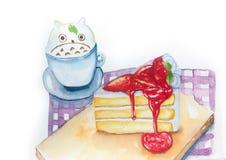 Gâteau de fraise avec du café Photos libres de droits