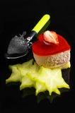 Gâteau de fraise de coeur Images libres de droits