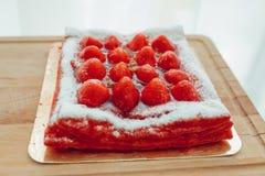 Gâteau de fraise, vue de plan rapproché Photos libres de droits