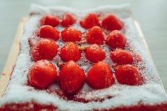 Gâteau de fraise, vue de plan rapproché Image libre de droits