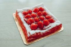 Gâteau de fraise, vue de plan rapproché Image stock