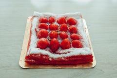 Gâteau de fraise, vue de plan rapproché Images stock