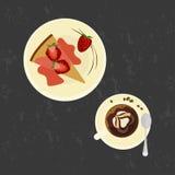 Gâteau de fraises avec du café d'amour Image libre de droits