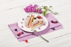 gâteau de Framboise-crème avec des framboises et des myrtilles Photographie stock libre de droits