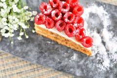 Gâteau de framboise de plat images stock
