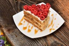 Gâteau de framboise de plat image stock