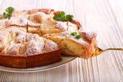 Gâteau de fruit avec du sucre glace sur le dessus, servi Image stock