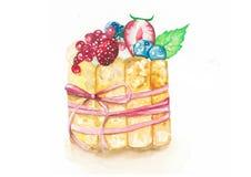 Gâteau de fruit avec l'arc rose Image stock