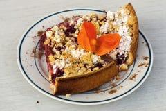 Gâteau de fruit avec le cherrie et la miette Photographie stock libre de droits