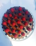 Gâteau de fruit de chocolat image libre de droits