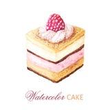 Gâteau de fruit d'aquarelle avec le fruit photo stock